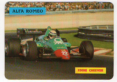 1985 Portugese Pocket Calendar F1 Alfa Romeo Team Driver Eddie Cheever in action