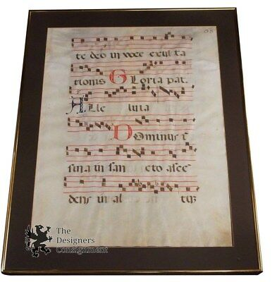 "Rare 26"" Double Sided Antique Antiphonal Vellum Music Sheet Latin Religious"
