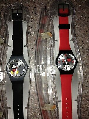 Mickey Mouse DISNEY STORE Red & Black Watch Lot New w/case