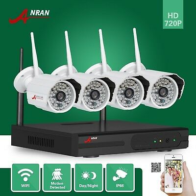 4ch Wifi NVR HD Wireless IP Camera 720P Night Vision Outdoor Security System