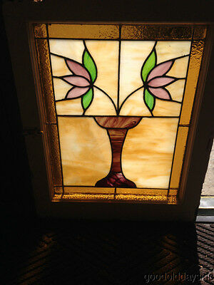 "Classic Chicago Bungalow Vase w/ 2 Flower Design Stained Glass Window 25"" x 20"""