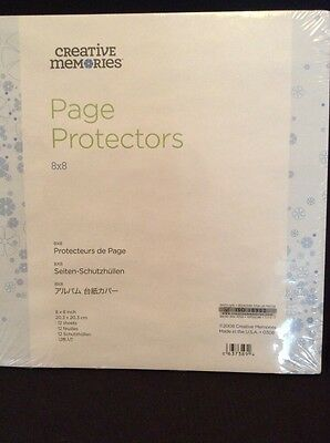 "Creative Memories Page Protectors 8x8 12 Sheets Clear New In Package 8"" NLA"