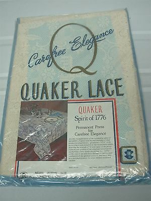 """Vtg Quaker Lace Tablecloth Bicentennial Spirit Of 1776 ~70"""" Round Mip Never Used"""