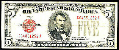 1928 D $5 United State Note-Fr# 1529 - Red Seal