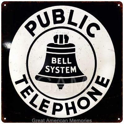 Bell System Public Telephone Vintage Look Reproduction 12x12 Metal Sign 2120013