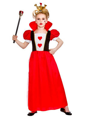 Child Queen Of Hearts Outfit Fancy Dress Costume Alice in Wonderland 3-10 Girls