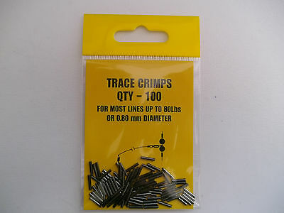 PIKE / SEA FISHING:100 x  TRACE CRIMPS 8mm LONG x O.80mm BORE