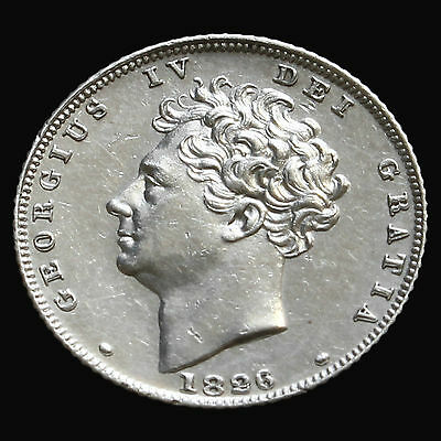 1826 George IV Bare Head Milled Silver Sixpence