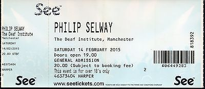 Philip Selway Radiohead used live concert ticket Manchester 14th February 2015