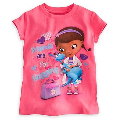 """Disney Store Doc Mcstuffins Tee """"friends Are For Hugging"""" Glitter Accents Nwt"""