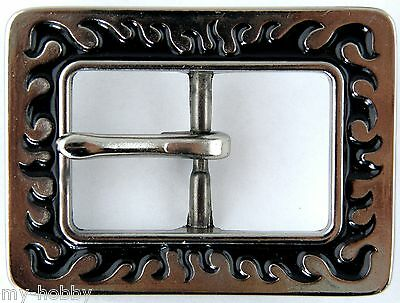 """1"""" Black Flame Center Bar Strap Buckle - Tandy Leather #71501-03"""