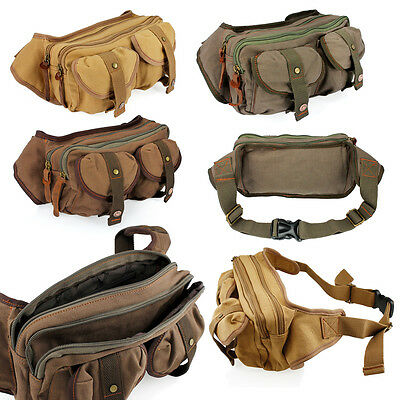 Men's Canvas Military Messenger Shoulder Travel Bags Hiking Fanny Small Bags