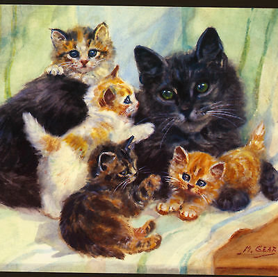 Mabel Gear...cat Mother With Playful Kittens,large Birthday Greeting Card,medici