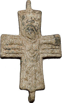 Lead Ancient Christian Byzantine Cross Artifact circa 1000-1100AD i51432