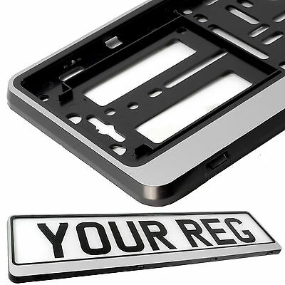 SILVER HINGED Car Number Plate Surround Holder FOR ANY CAR, TRUCK VAN TRAILER