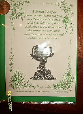 """PEWTER MAGNET, NEW MAILBOX with FLOWERS, """"AK Collection"""" MADE in U.S.A, 1 3/4""""Hi"""