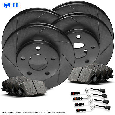 FRONT+REAR KIT Black Hart *DRILLED /& SLOTTED* Brake Rotors Ceramic Pads C1318