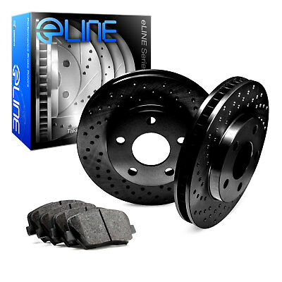 For Ford, Lincoln Flex, MKS, Taurus Rear Black Drilled Brake Rotors+Ceramic Pads