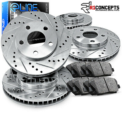 "Brake Rotors FRONT+REAR KIT ELINE /""DRILLED AND SLOTTED/"" /& CERAMIC PADS RA35107"