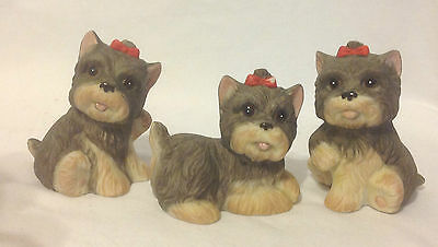 Set Of 3 Homco Schnauzer Or Yorkshire Terrier Puppy Dog #1475 Home Interiors