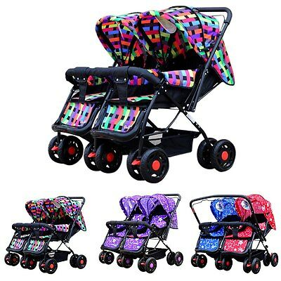 New Twin Baby Toddler Buggy Stroller Pushchair Storage Basket Infant Double Pram