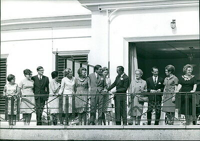 Vintage photo of Princess Beatrix of the Netherlands  standing on balcony with