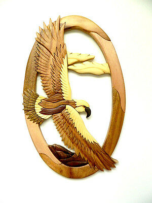 Hawk In Flight Bird Intarsia Wood Wall Art Home Decor Plaque Lodge New