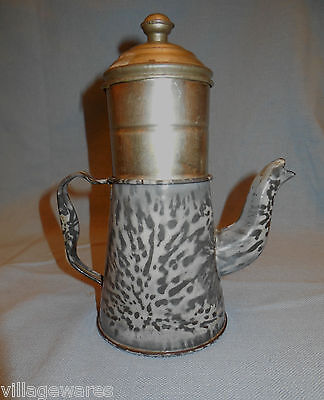 Late 1800s Coffee Beggin  in  Mottled Gray Graniteware and Tin