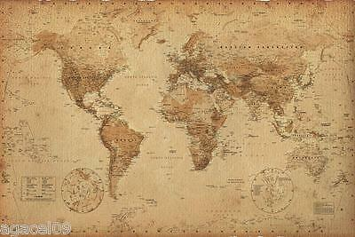 MAXI SIZE MAP OF THE WORLD 91.5 x 61cm ANTIQUE STYLE POSTER WALL NEW GREAT GIFT