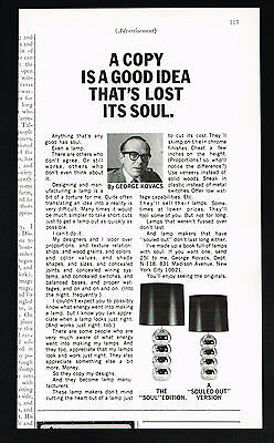 1969 George Kovacs 2 Lamp Photo Soul & Souled Out Vintage Print Ad