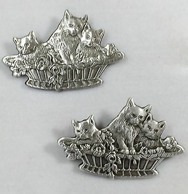 "Set Of 2 Matching Buttons~STERLING OVERLAY On Brass~""KITTENS IN A BASKET""~1 1/4"""