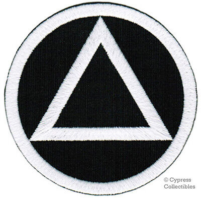 ALCOHOLICS ANONYMOUS iron-on EMBROIDERED PATCH AA BLACK WHITE applique SOBRIETY