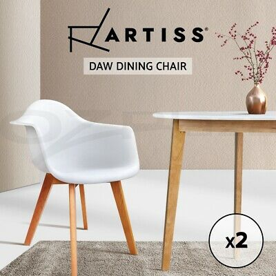 2 x Retro Replica Eames Eiffel DAW Dining Chairs Cafe Kitchen Armchair