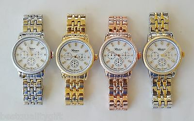 New-Geneva Platinum Silver,gold,rose Gold,two Tone,crystals,mop Dial Watch-4605