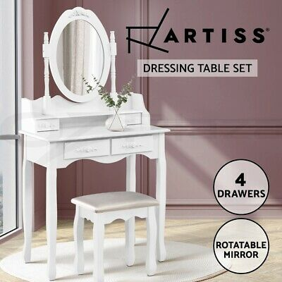 Luxury Dressing Table & Stool Mirror Jewellery Cabinet 4 Drawers Organizer