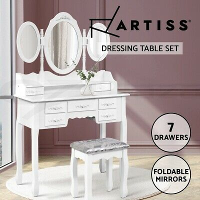 Luxury Dressing Table & Stool Mirror Jewellery Cabinet 7 Drawers Organizer