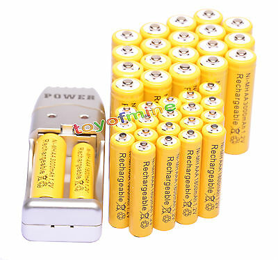 40x AA+AAA Ni-MH Rechargeable Battery Free USB Charger