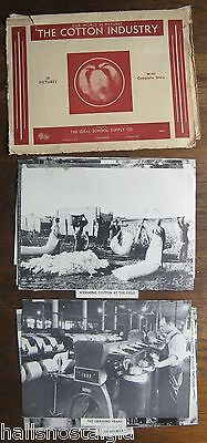 "1939 Ideal's ""The Cotton Industry In Pictures"", 16 pictures in folder + booklet"