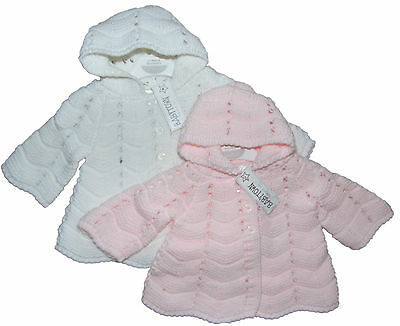 Baby Boy or  Girl Cardigan Hooded Jacket Traditional Style Pink or White