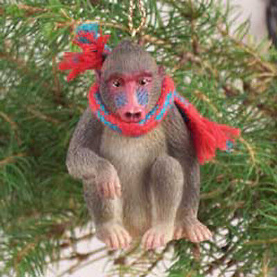 MANDRILL with Scarf Tiny One Miniature Christmas ORNAMENT