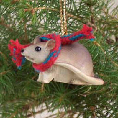 MOUSE with Scarf Tiny One Miniature Christmas ORNAMENT