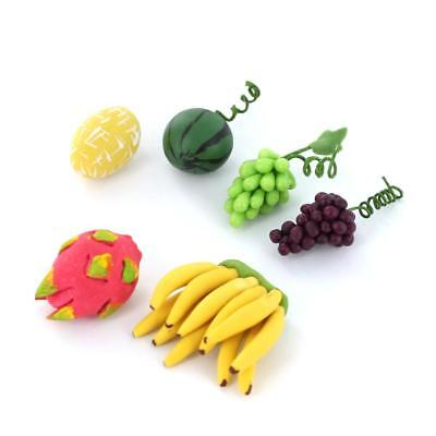 6pcs Fresh Fruits Handmade Dolls House Miniature Kitchen Food Items 1:12 Scale