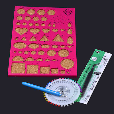 Art DIY Paper Quilling Tools Kit Mould Board Stright Pin Tweezer Slotted Random