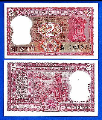 India P-53 Two Rupees Tiger AU-Uncirculated FREE SHIPPING