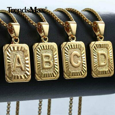 HOT Womens Mens Chain Unisex Yellow Gold Filled GF Square Letter PENDANT GIFT