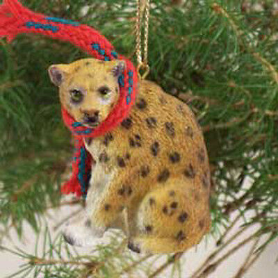 LEOPARD with Scarf Tiny One Miniature Christmas ORNAMENT