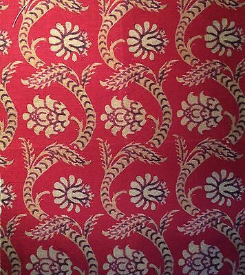 ARJUMAND COLLECTION Italy XVII Red hand print linen Remnant New