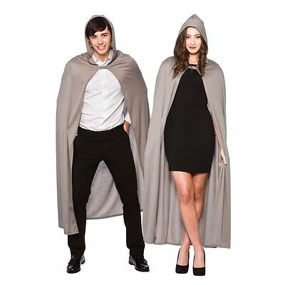 "52"" Adult Mens Ladies Grey Hooded Cape With Hood Fancy Dress Costume Accessory"