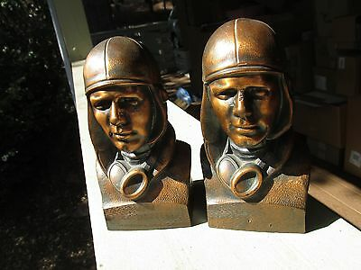 Charles Lindbergh Bronzed  Bookends Guardian Building & Loan Portland pair 1930