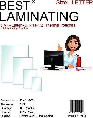 """Best Laminating 5mil. Letter Laminating Pouches Clear. 9"""" x 11.5"""" - 100 Pouches"""